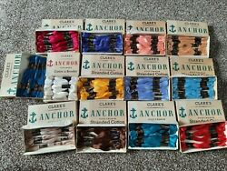13 X Vintage Boxes Clarks Anchor Fast Colour Stranded Cotton Thread Embroidery