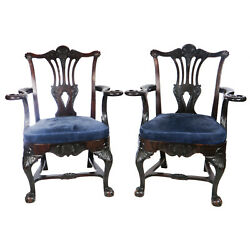 Pair Antique Mahgany Chippendale Hand Carved Chairs, Ball Claw Feet, Eagle Arms