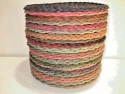 20 Vintage Woven Wicker Paper Plate Holders Colorful Lot Excellent