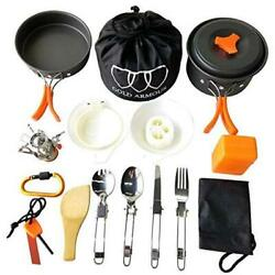 17 Pieces Camping Cookware Mess Kit Backpacking Gear and Hiking Outdoors Bug $42.50