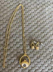 Nantucket Lightship Scrimshaw Basket Necklace And Earrings Gold Tone Pai Pewter