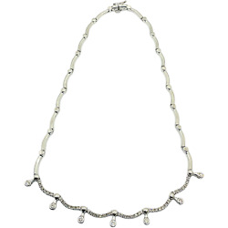 14k Solid White Gold Diamond Tennis Necklace Choker 2.0 Carats 16andrdquo Inches