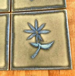 Lot Of 6 - Vintage Ceramic Tile 4-1/4 Square Made In Germany Villeroy And Boch