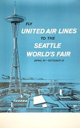Original Vintage Poster Fly United Air Lines Seattle World's Fair Airline Travel