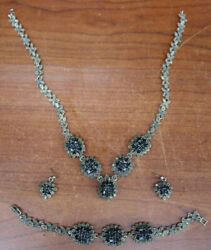 Vintage Estate Sterling Silver Jewelry Set 24ct Sapphire And Marcasite