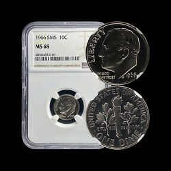 United States. 10 Cents 1966 Fdr - Ngc Ms68 - Sms Roosevelt Dime C.4858403010