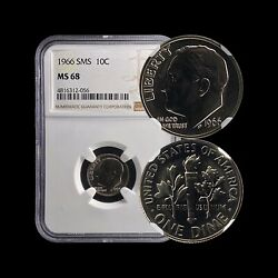 United States. 10 Cents 1966 Fdr - Ngc Ms68 - Sms Roosevelt Dime C.4816312056