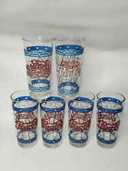 Set Of 6 Vintage 1970and039s Pepsi Cola Style Stained Glass 12 Ounce Tumbler