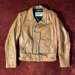 Vintage Schott Light Brown Leather Motorcycle Jacket Size 38 Small 80s 1980s Usa