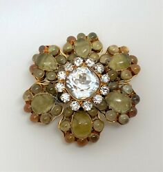 Vintage Auth.1950and039s Gripoix Pate De Verre With Crystal Brooch Pin