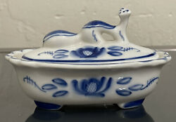 Vintage Blue White Bird Asian Chinese Ceramic Oval Trinket Box -butter Dish