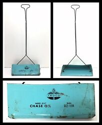 Rare Amoco Gas Station Dust Pan Sign Chase Oil Co Vtg Advertising