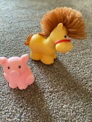 Fisher Price Little People Farm Animals Horse Hair Pink Pig Toys Set 2005 2014