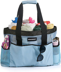 Haundry Mesh Beach Bag Extra Large Travel Tote Bags With 8 Oversized PocketsS $25.65