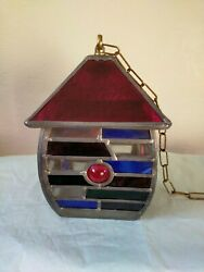 Leaded Multi Coloured Stained Glass Hanging Lead Chain Porch Lantern Vintage