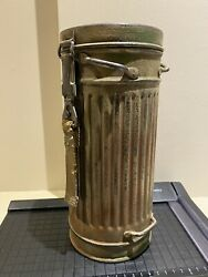 Rare Germany Wwii Camouflage Tri-color Gas Mask Canister. Named And Dated 1939