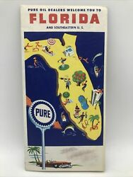 1960 Pure Oil Company Florida, Se Usa And Cuba State Highway Road Map Travel Guide