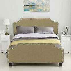 Twin/full/queen Size Bed Frame With Headboard Linen Cloth Platform Upholstered