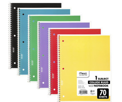 6x College Ruled Spiral Notebooks Note Book School Rainbow High school Paper New
