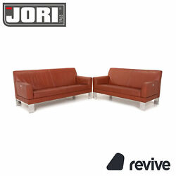 Jori Glove Leather Sofa Set Red Rustic Red 1x Three-seater 1x Two Seater Couch