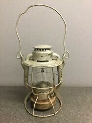 Vint Dietz Vesta New York Central Lantern Etched And Embossed Corning Glass