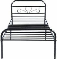 Modern 3ft Single Bed Metal Bed Frame Bedstead Base With Headboard And Footboard
