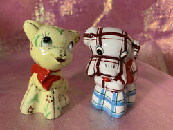 Vintage Napco Py Anthropomorphic Cat And Dog Patchwork Salt And Pepper Shakers