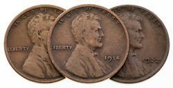 Lot Of 3 Lincoln Wheat Cents 1912-s, 1914-s, 1922-d In Vg Condition, Brown