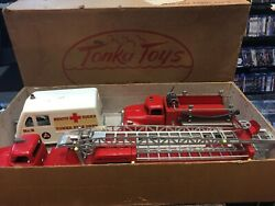 Incredible 1950and039s Tonka Toy Very-rare-original Box B-212 Fire Department 3pc Set