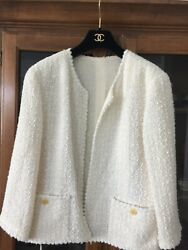 Vintage Skirt And Jacket - White / Pearl Size 40