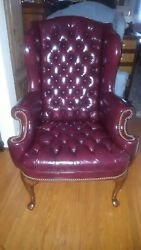 Queen Anne Tufted Leather Wing Back Chair