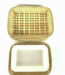 8 Vintage Wicker Rattan Rectangular Paper Plate Holders 10 Outdoor Party Picnic