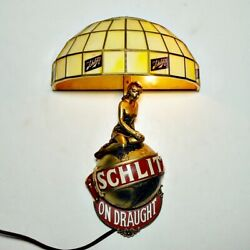 Beer Lamp. 🍺 Schlitz On Draught, Lady On Globe, Deco Shade Vg