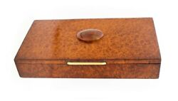 Alfred Dunhill 1930 Paris Art Deco Cigar Box In Burl Wood, Agathe And 18 Kt Gold