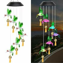 Solar Wind Chimes For Outside Hummingbird Windchimes With 6 Metal Bells 7 Colo