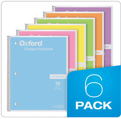 6x College Ruled Spiral Notebooks Note Book School Pastel High School Paper New