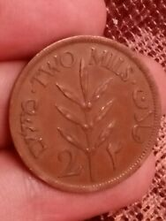 Palestine 2 Mils Km 2 1946 Two Middle East Israel Rare Coin Xf 161019