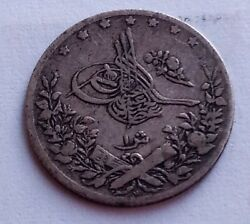 Egypt 1 Qirsh 1293 Year 27 W Km 292 Silver Rare Coin Ottoman Middle East 40120
