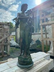 Beautiful 31 Tall Bronze Statue By A. Rome Of A Woman With Flowers - 40a
