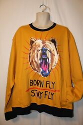 Mens Born Fly Embroidered Crew Pullover Sweatshirt 5xl Nwt Stay Fly Bear Yellow