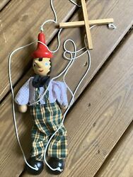 Pinocchio Wooden Marionette Puppet Toy Doll Carved Wood 13 Made In Italy
