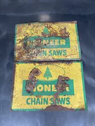 Lot Of Two Pioneer Chain Saw Outboard Vintage Metal Gas Oil Sign Gr8 Decor