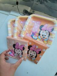 Minnie Mouse Fun To Be One Birthday Party Paper Plates And Napkins