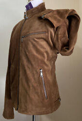 New 3495 Purple Label Men Suede/leather Jacket Coat Brown Xl Italy