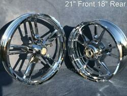 Harley Chrome Enforcer Front 21 Rear 18 Wheel 09-21 Touring Outright Sale Flhx