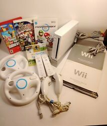 Nintendo Wii White Console Ntsc W/stand Wii Sports 3 Mario Games And Accessories