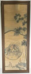 Chinese Watercolor Scroll Painting On Silk Bamboo Scholars Song Style Framed