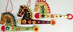 Vtg Painted Straw Ornament Lot 3 Hobby Horse On A Stick Toy Folk Art 5 Inch