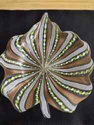 Vintage Murano Art Glass Latticino Twisted Ribbon And Copper Infused Leaf Dish.