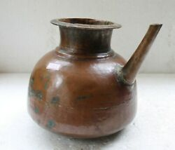 Old Antique Heavy Solid Copper Kitchen Water Pot With Spout Home Decor Nh5182